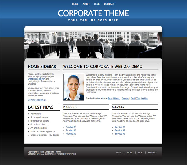 corporate web 2.0 wordpress theme