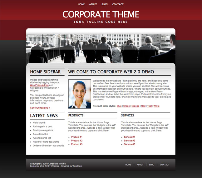 red corporate wordpress theme