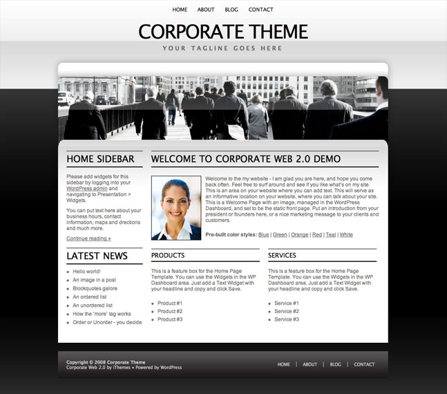 white corporate wordpress theme