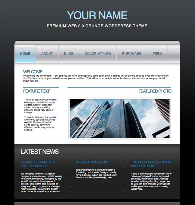 blue web 2.0 business wordpress theme