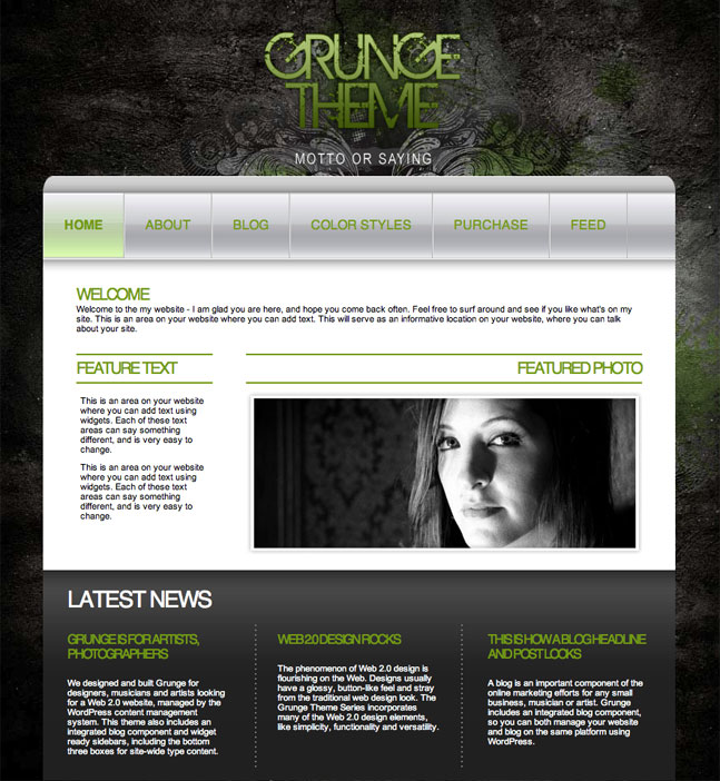 green grunge wordpress theme