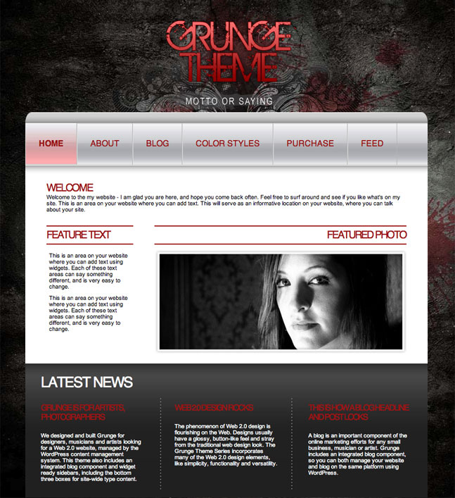 red grunge wordpress theme