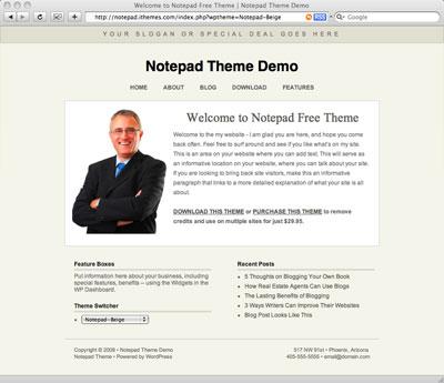 Notepad: A Simple Free WordPress CMS Theme