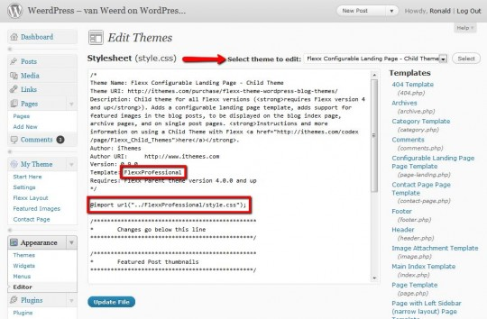 modifications to the Child themes stylesheet