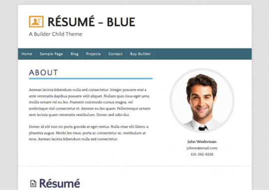 just released new builder child theme résumé in 3 color variations