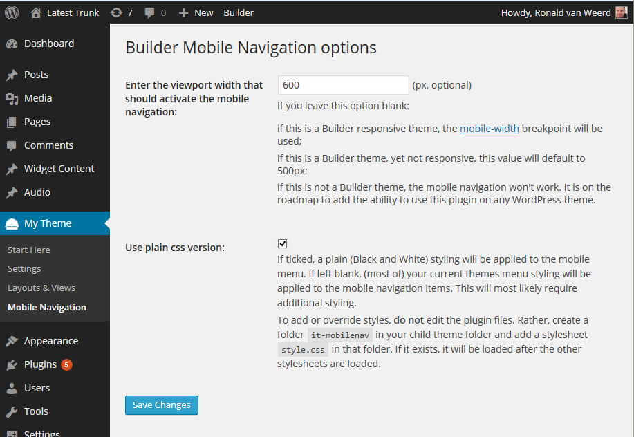 Builder mobile navigation options