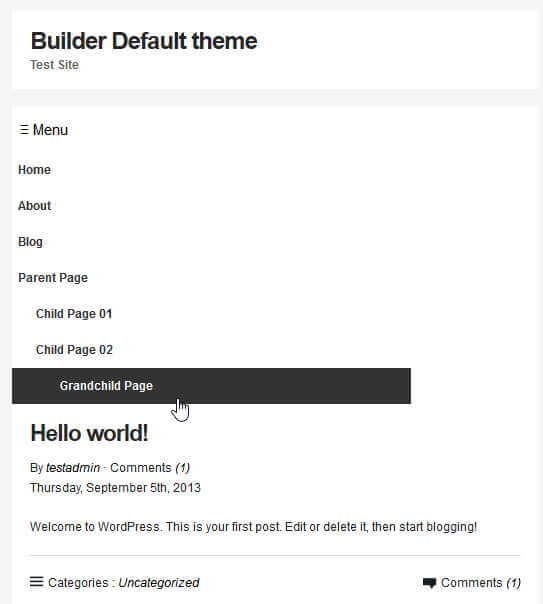 Builder Mobile Navigation menu