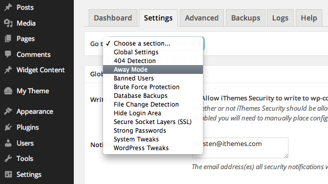 away-mode-ithemes-security-settings