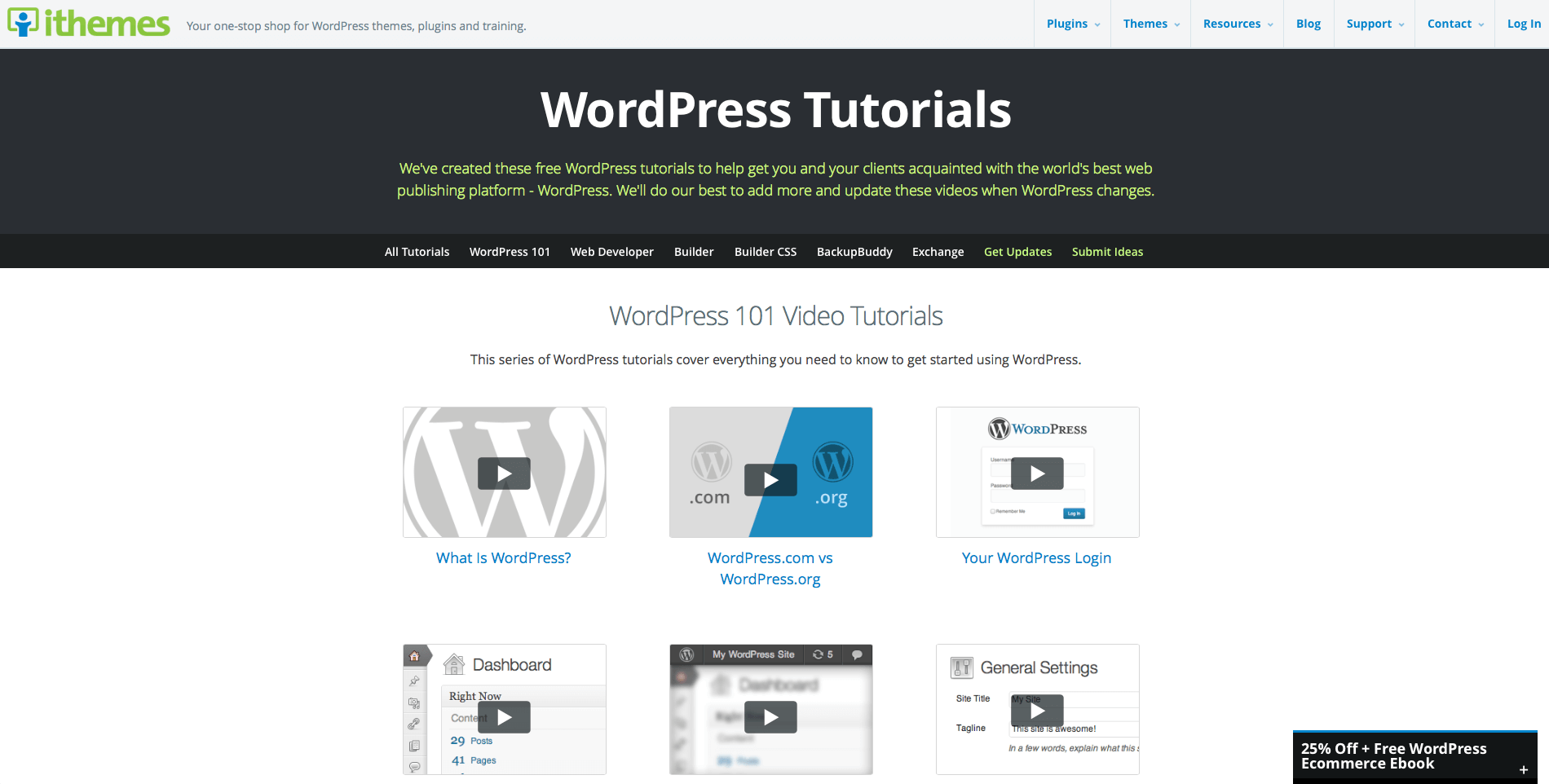 WordPress 101 Tutorials Screenshot