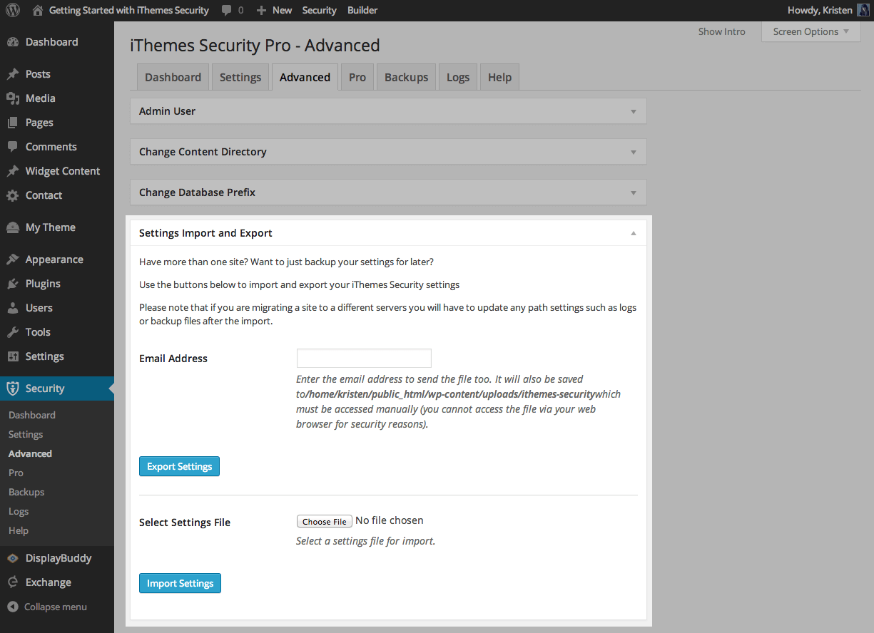 iThemes-security-import-export-settings