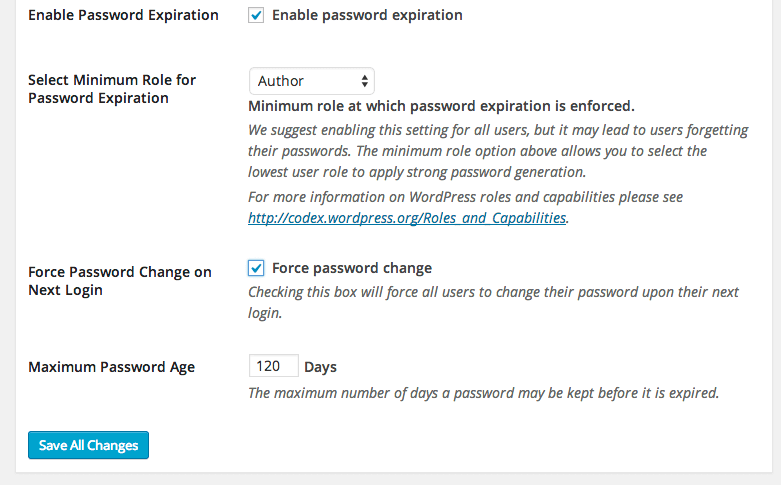 Password expiration settings