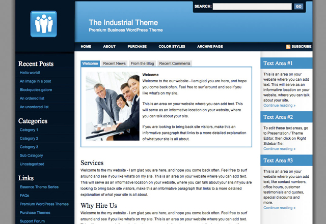 industrial business wordpress theme series
