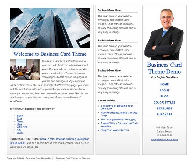 white premium wordpress business card theme