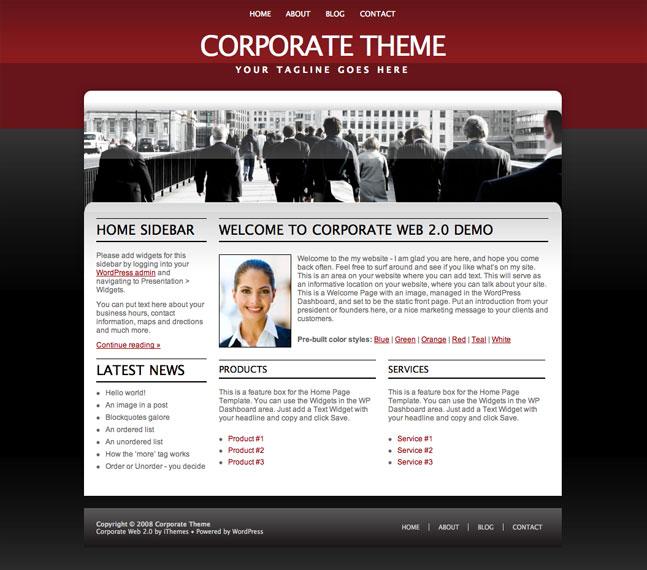 red corporate wordpress theme