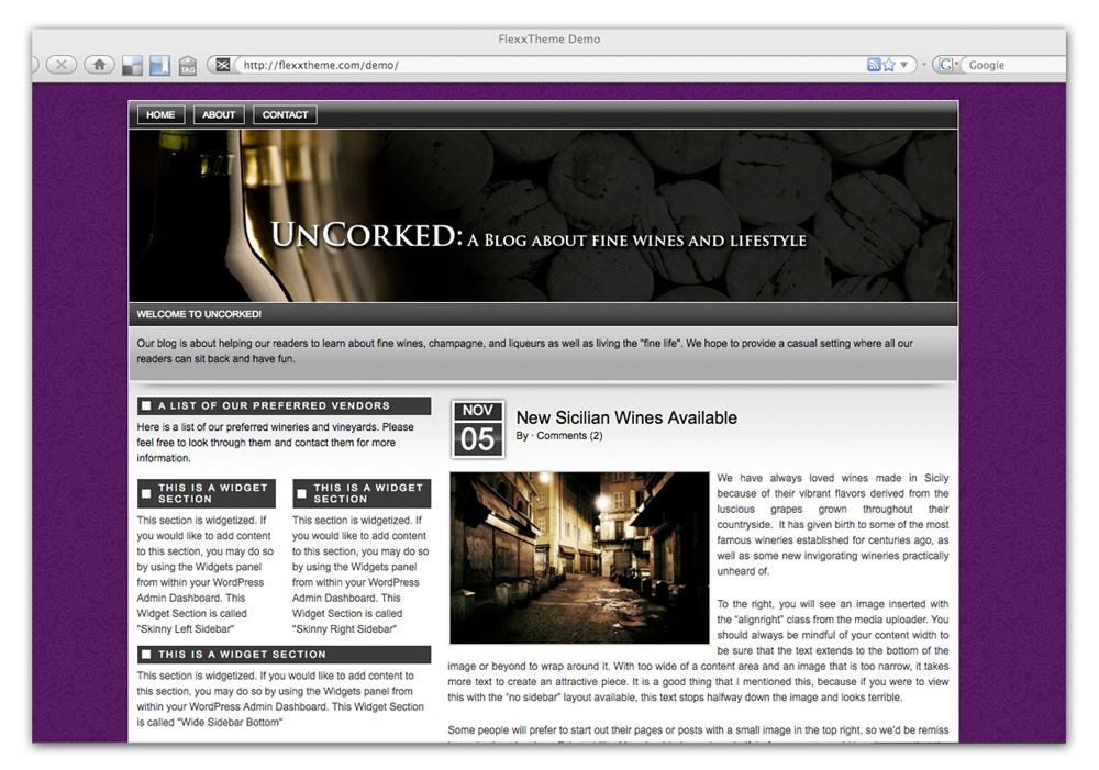 Sample Wine Site in Flexx