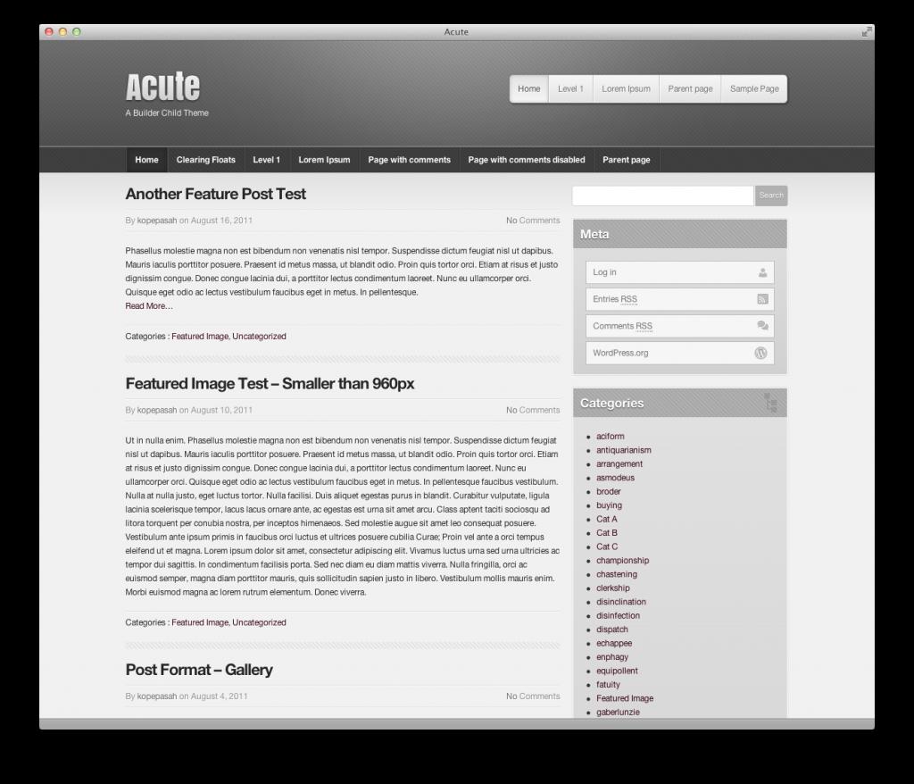 screenshot of acute