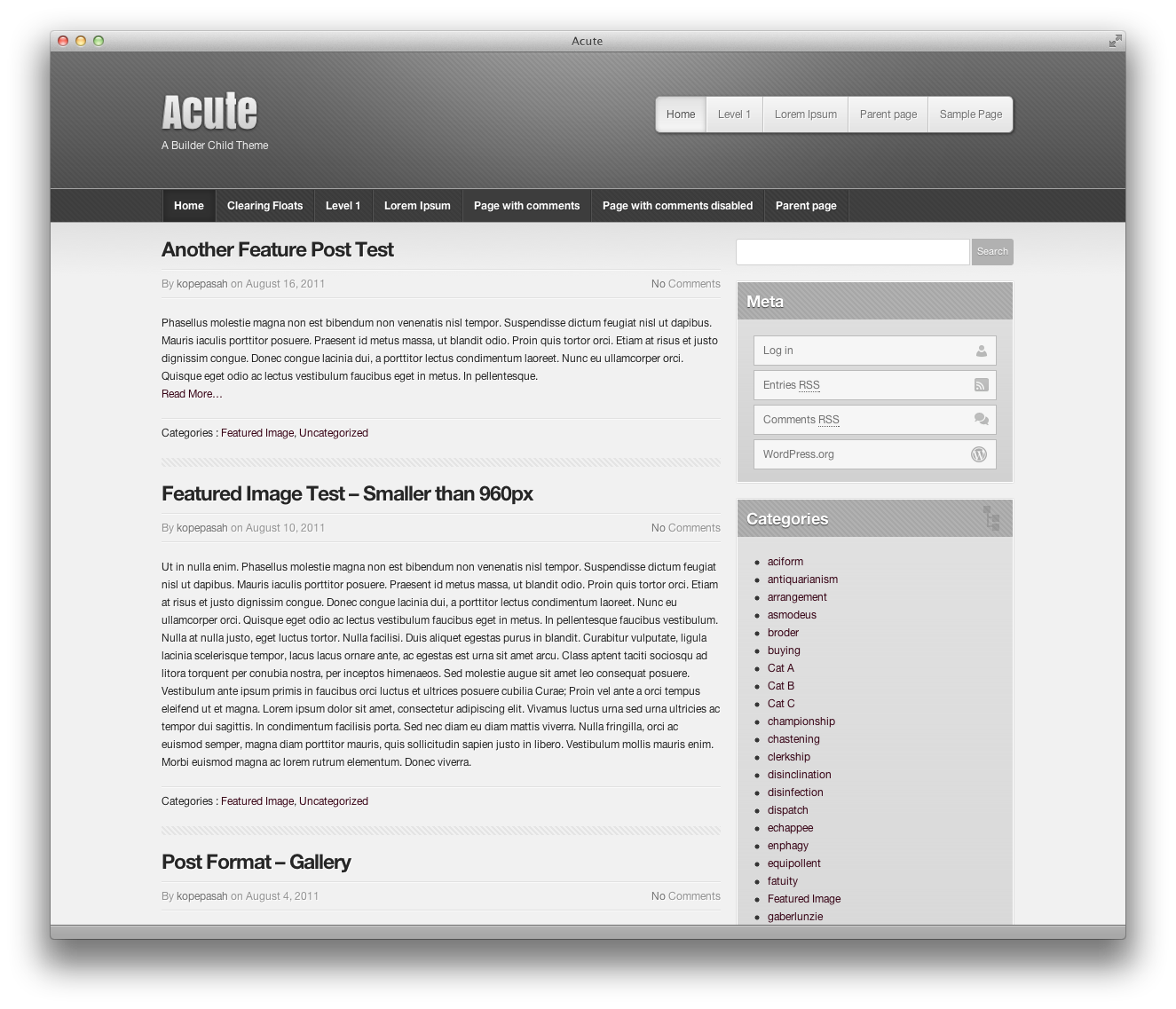 screenshot of acute