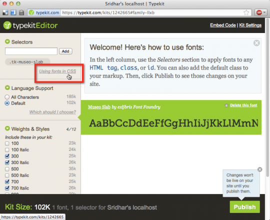 how to add fonts to typekit
