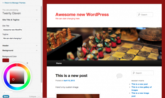 New WordPress 3.4 Real-Time Theme Editor