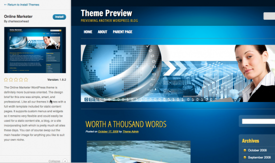 New WordPress 3.4 Theme Preview
