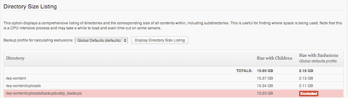 Directory Size Listing