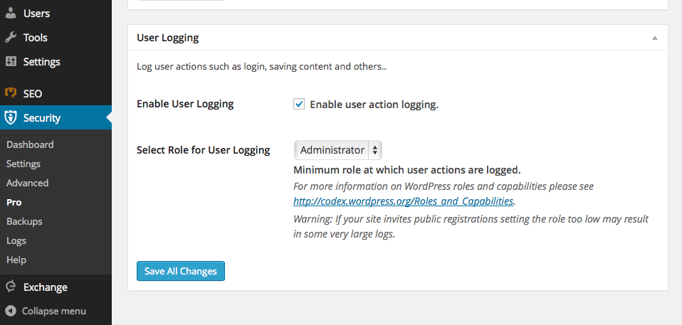 User Logging ITSEC PRO