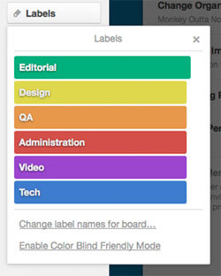 Trello for Freelancers: Label your cards with color!