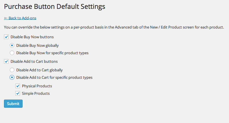Exchange Purchase Buttons Default Settings Page
