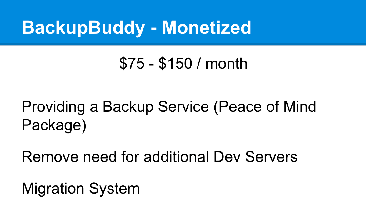 BackupBuddy Monetized