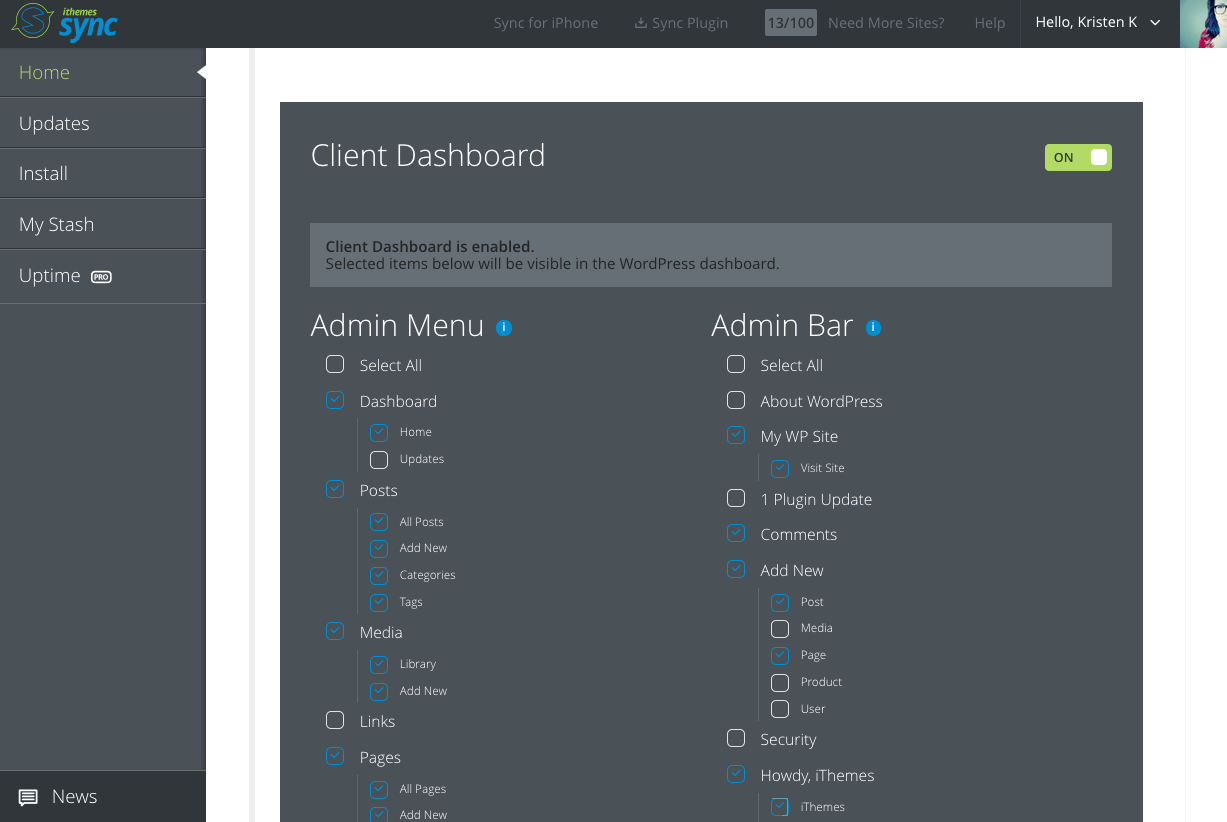 ithemes-sync-client-dashboard-wordpress