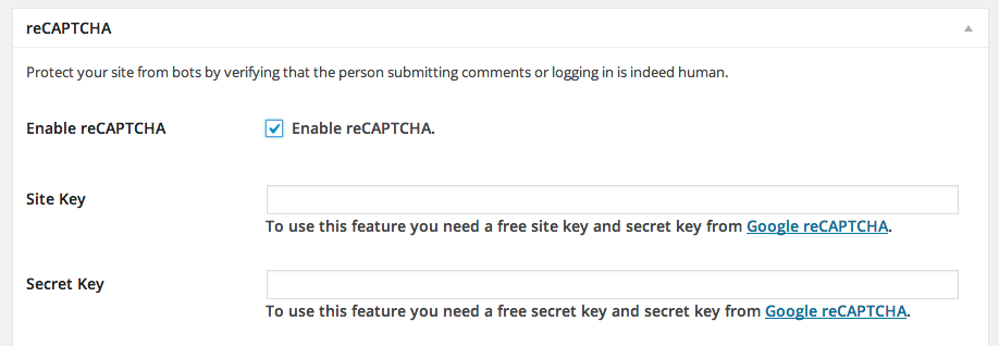 iThemes Security reCAPTCHA settings