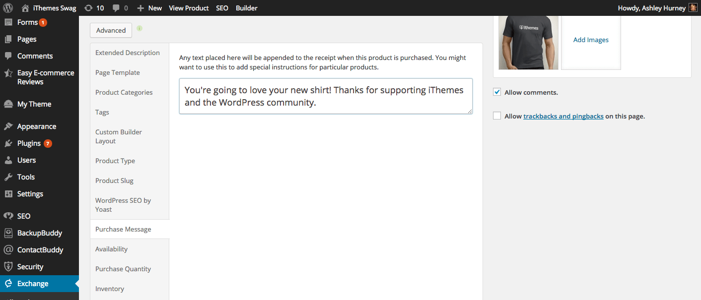 iThemes Exchange Customized After purchase message