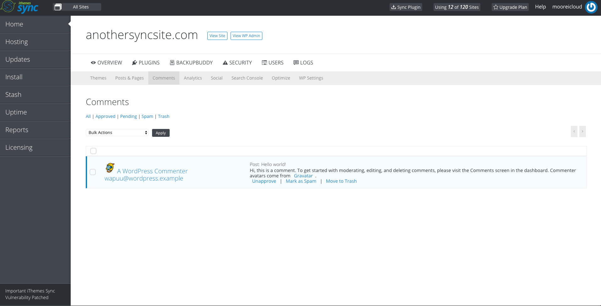 Sync Manage Comments