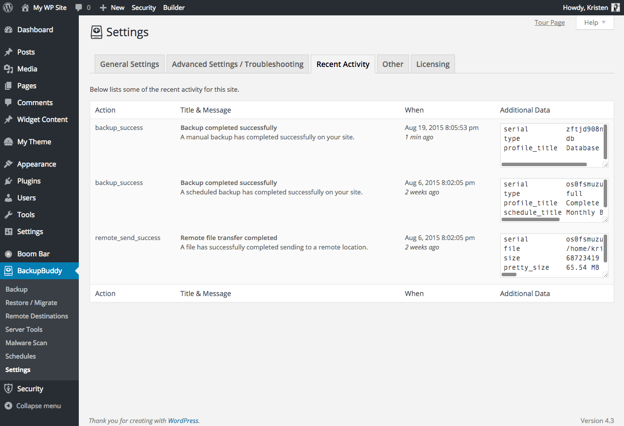 backupbuddy-recent-activity