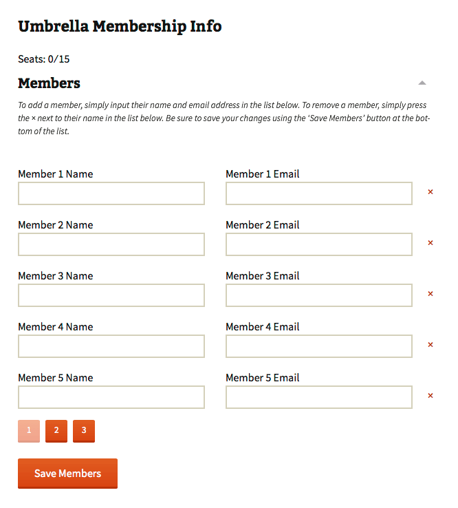 Umbrella Memberships Members List