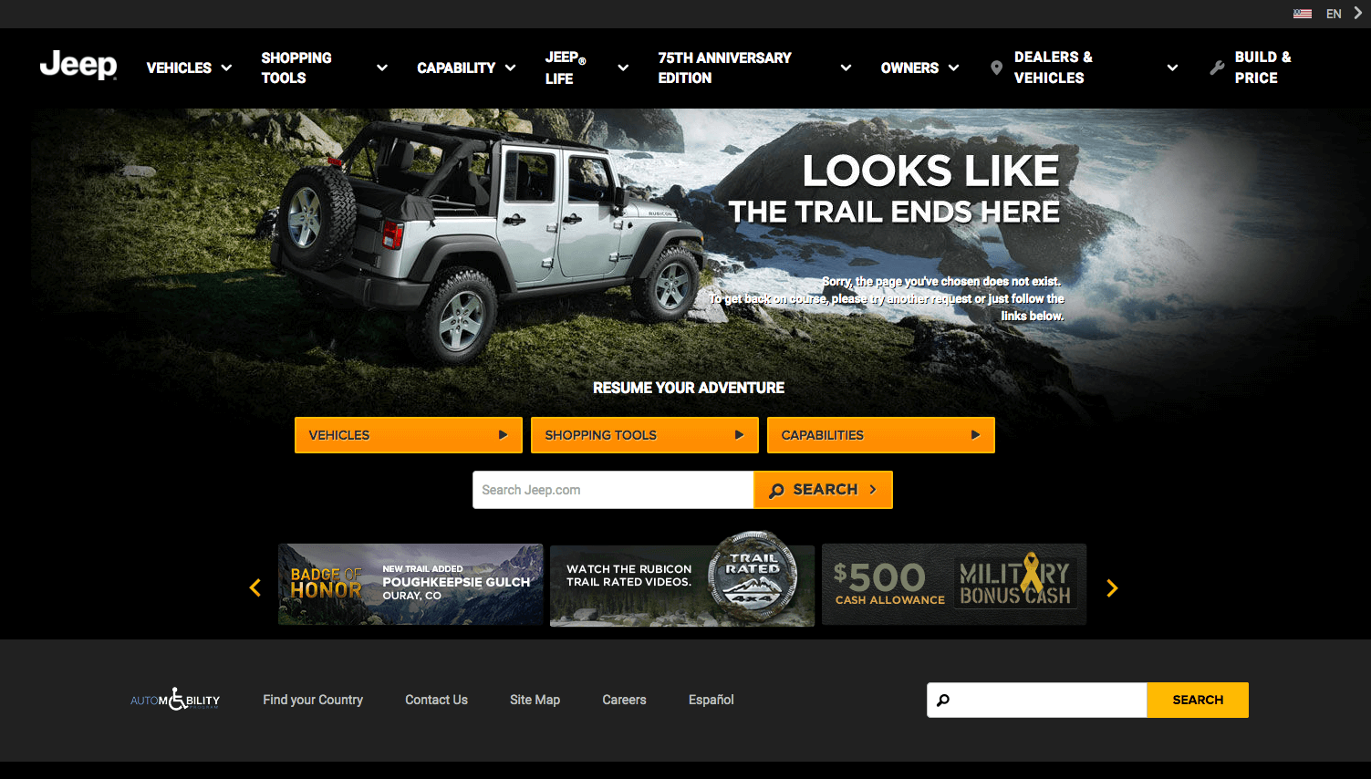 Funny 404 Pages - Jeep