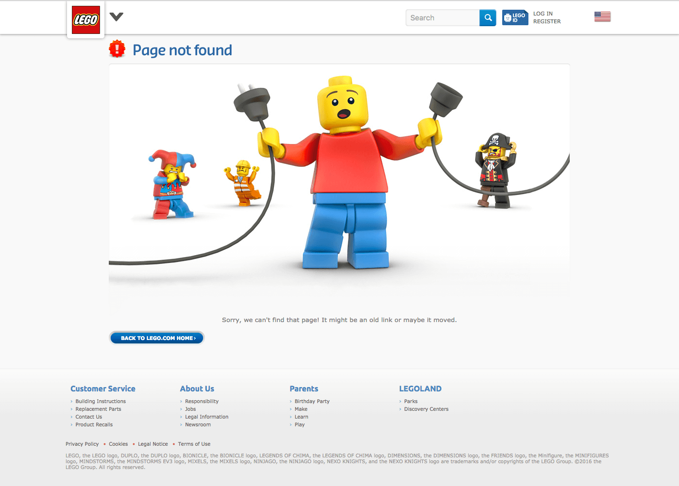 Lego 404 Page