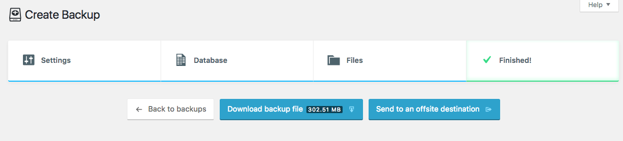 Download WordPress backup zip file