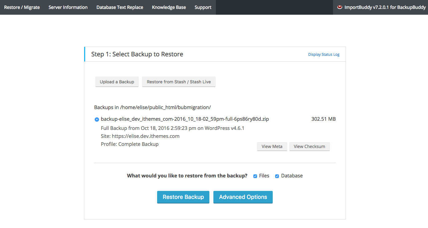 Select WordPress Backup
