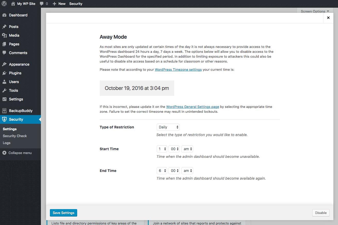 away mode locks down wordpress
