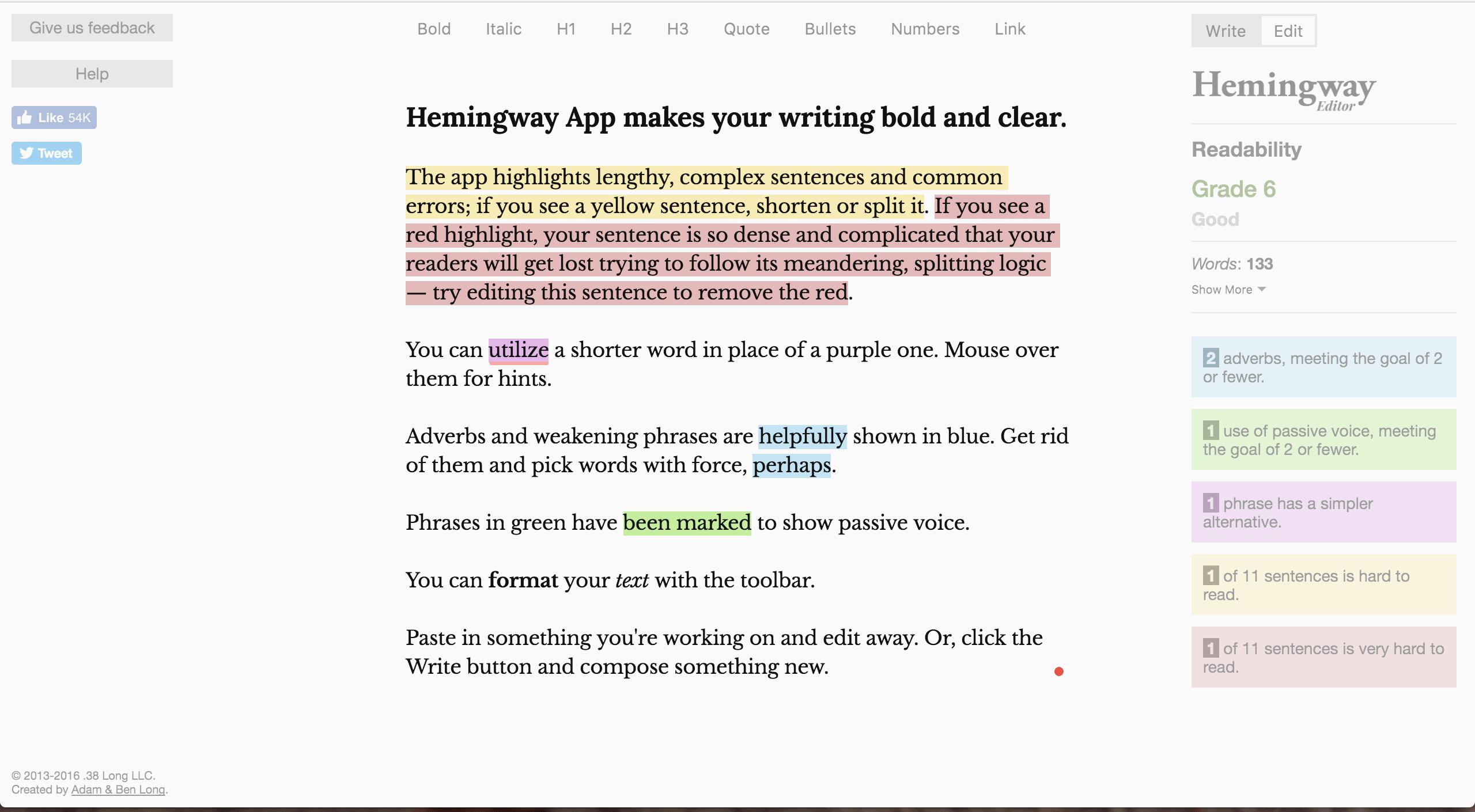 Hemingway Grammar Editor