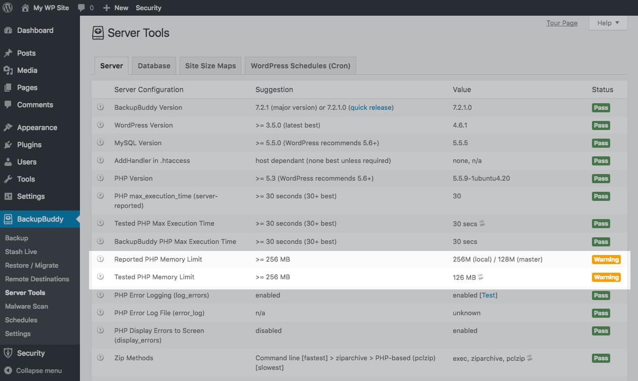 backupbuddy server tools