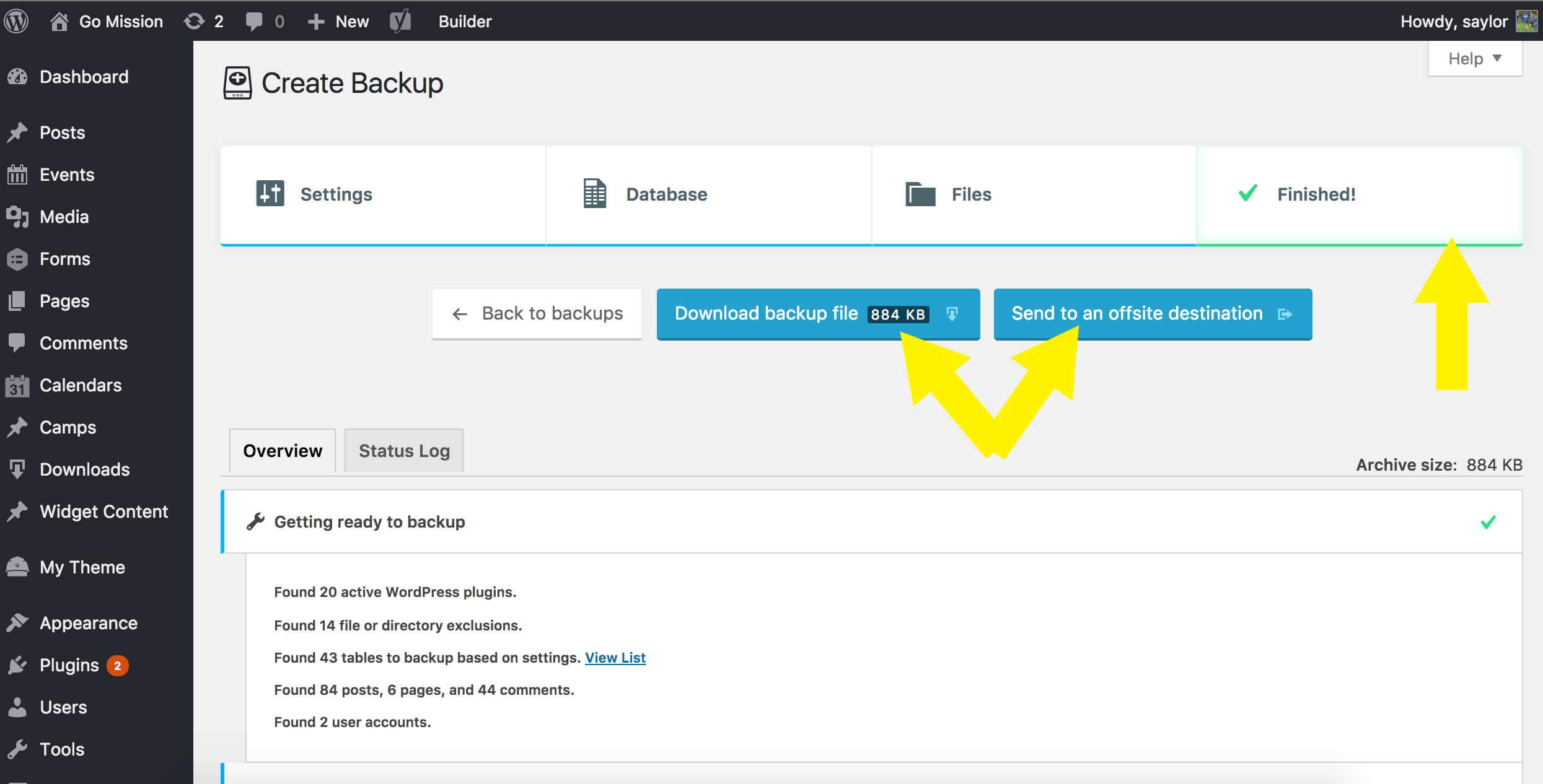 Simple WordPress backup