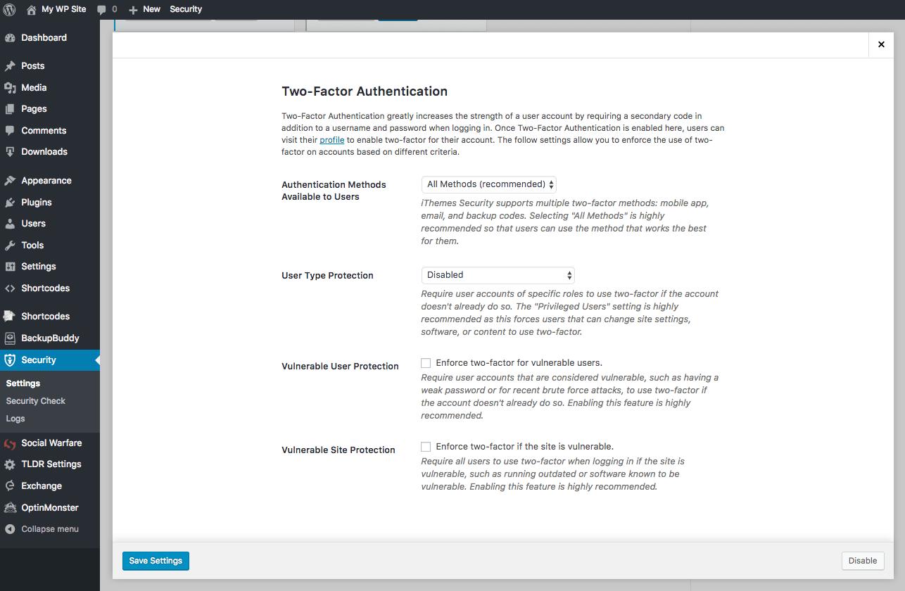 wordpress two-factor-settings
