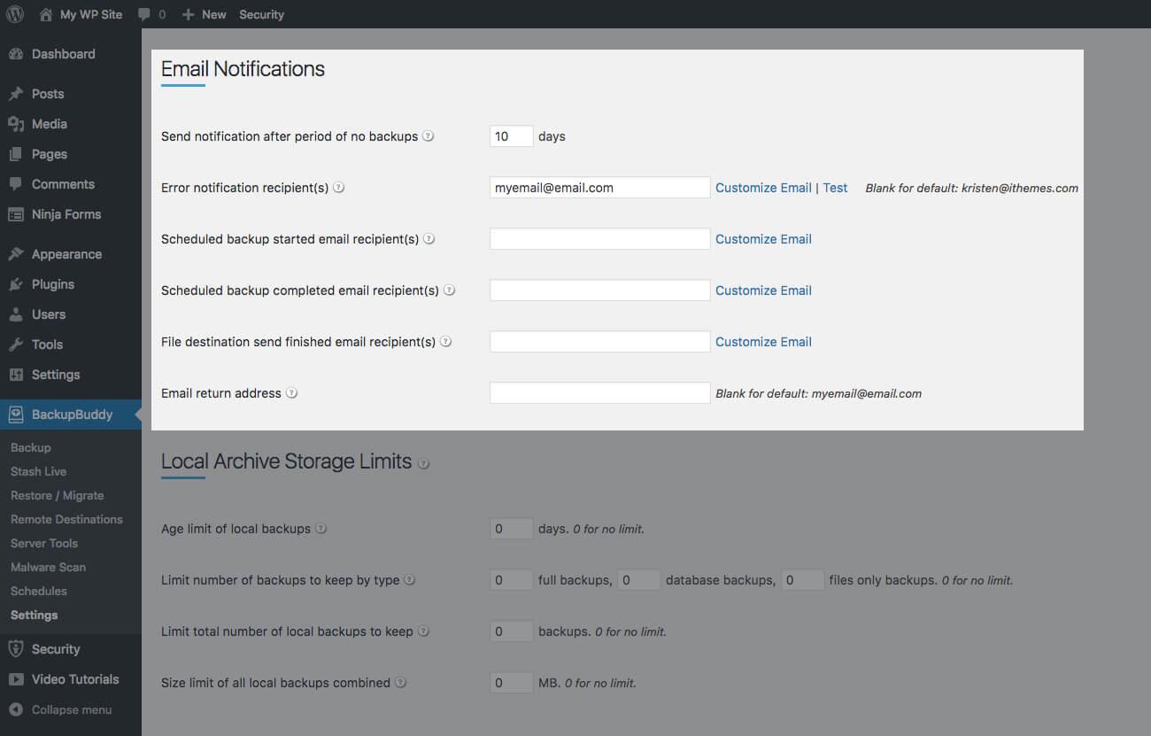 backupbuddy email notifications