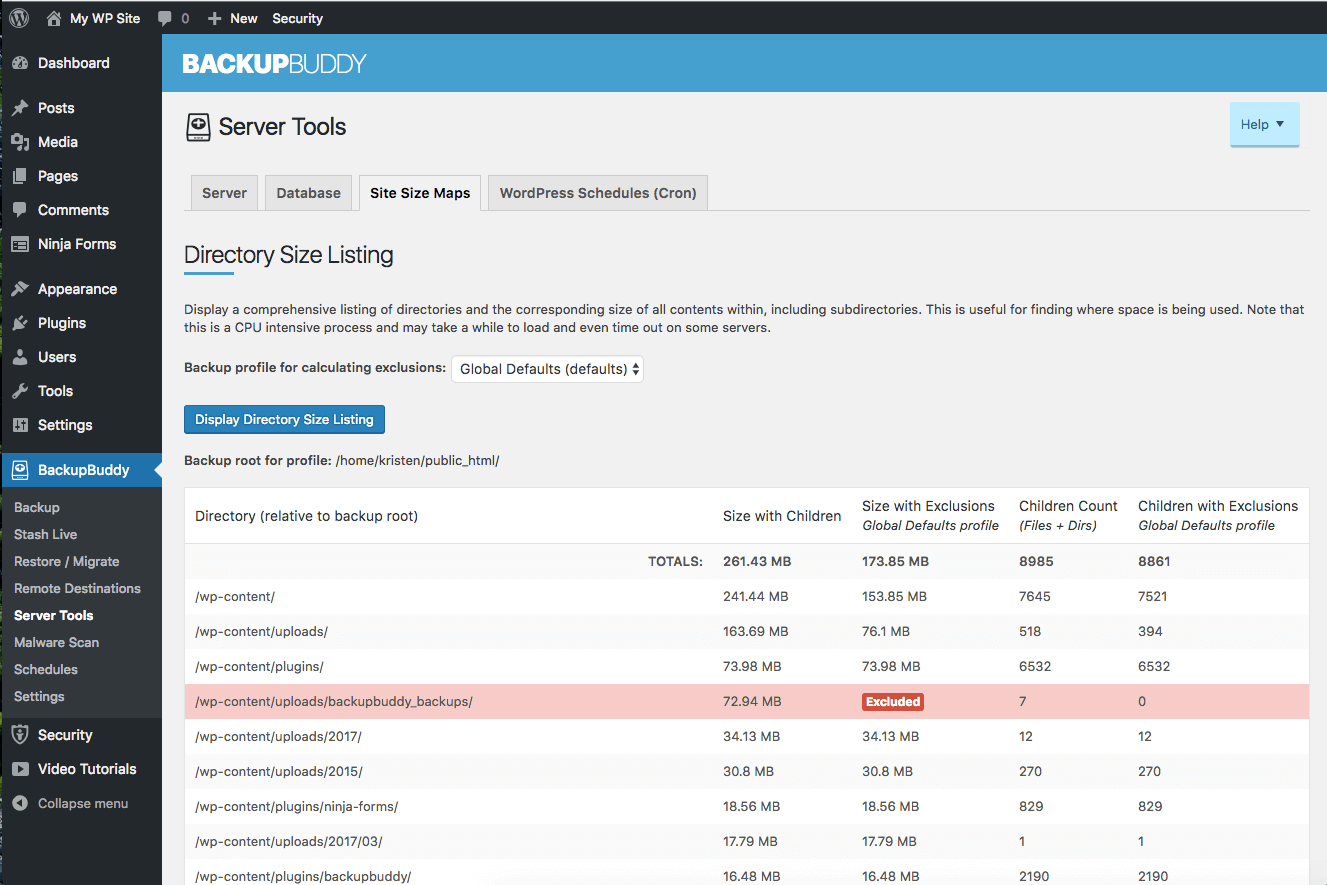 wordpress directory size listing