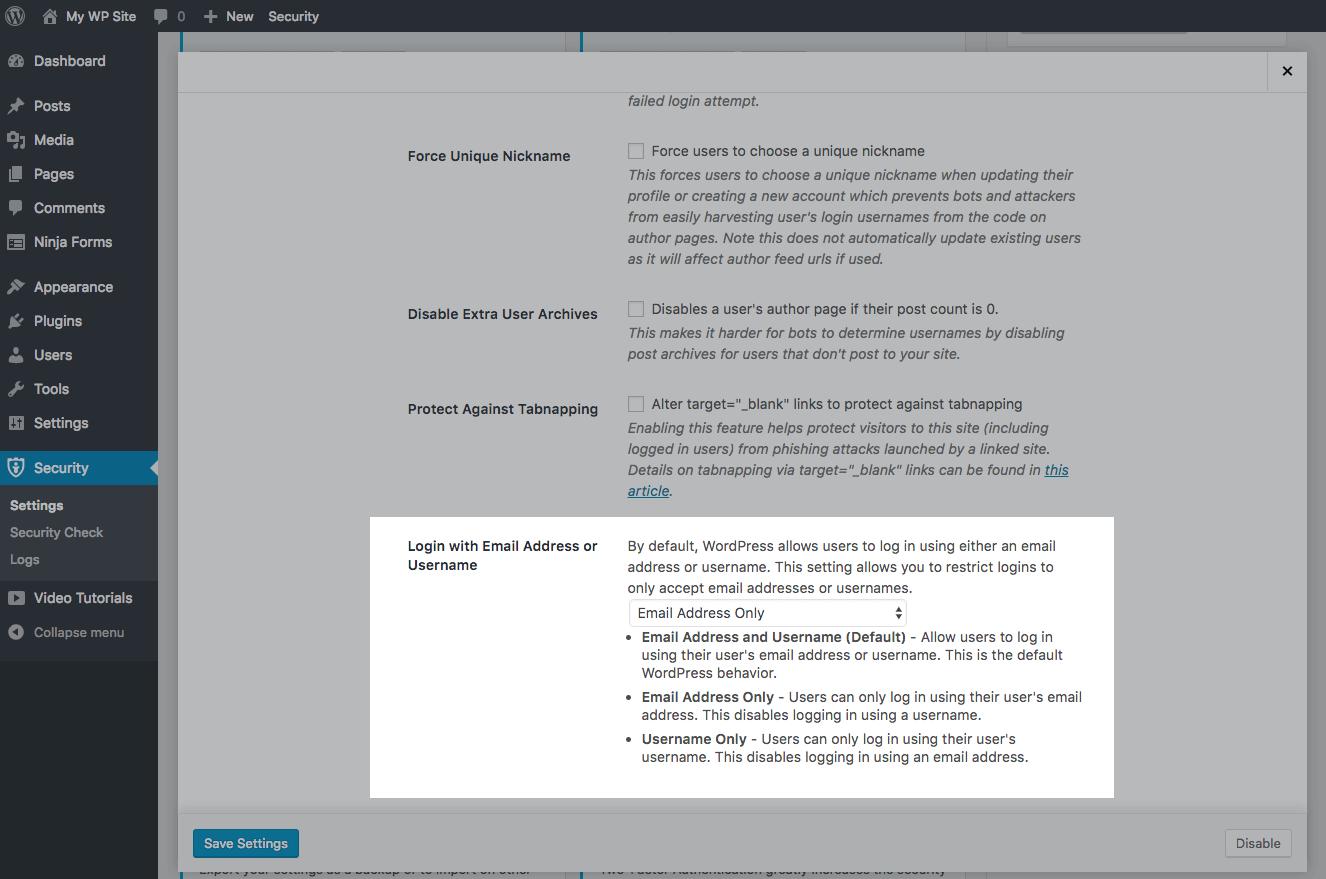 login with email address WordPress