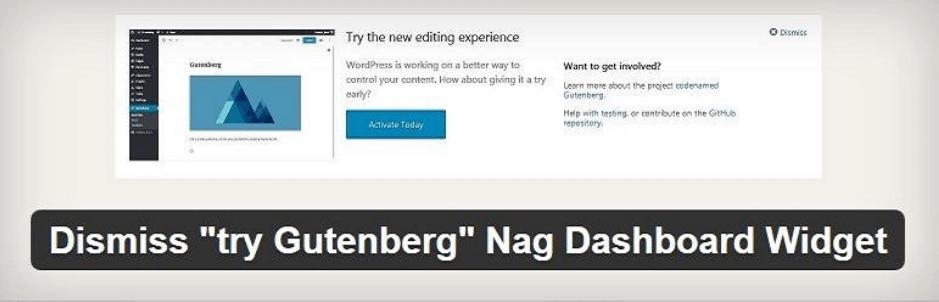 Dismiss try Gutenberg Nag Dashboard Widg