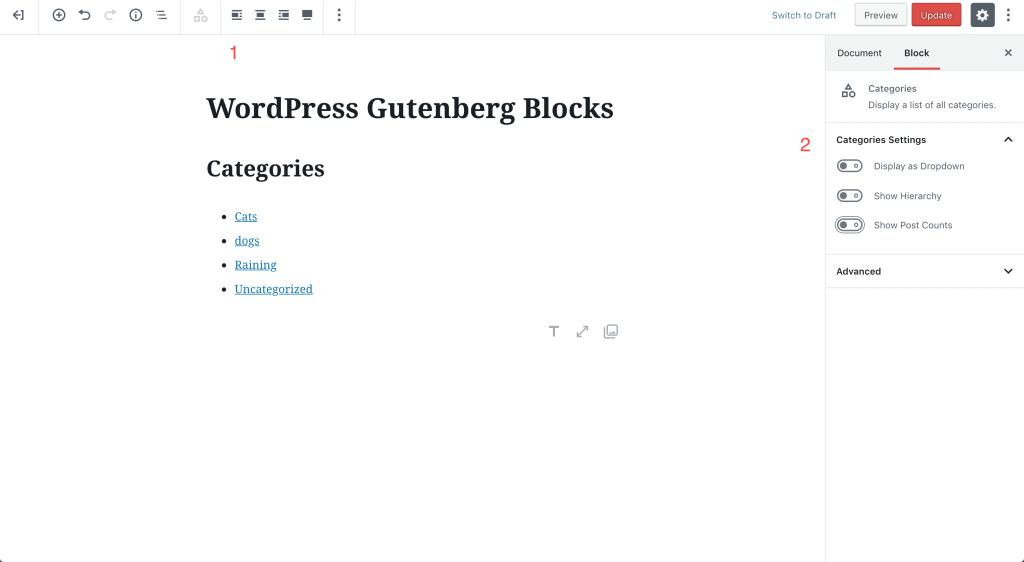 categories block