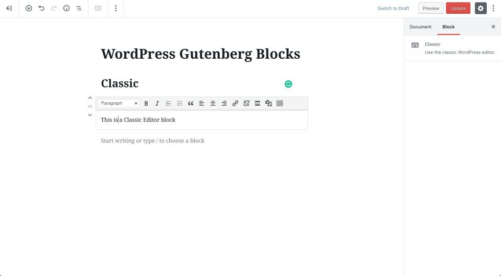 classic editor block